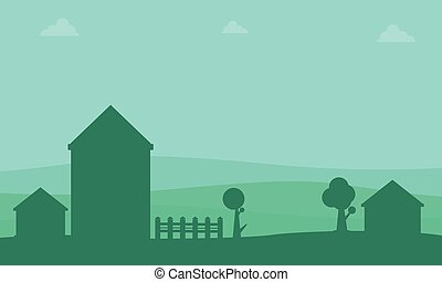 Landscape of house silhouettes collection