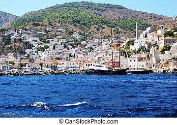 Landscape of Hydra island Saronic Gulf Greece .