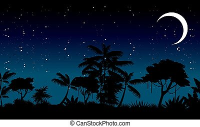 Landscape of jungle silhouette tree vector illustration