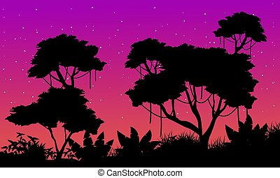 Landscape of jungle with big tree silhouette