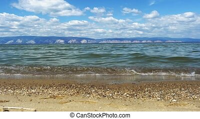 Landscape of Khankhoy - a lake in the Olkhon district of the Irkutsk region on the island of Olkhon. 3840x2160, 4k