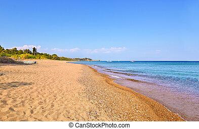 Koroni beach Peloponnese Greece - landscape of Koroni beach ...