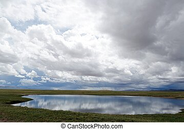 Landscape of lake and clouds in Tibet