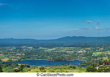 Landscape of lake and mountain with blue sky
