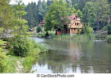 landscape of lake in Carpathians