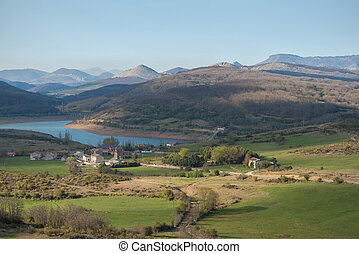 landscape of lake in Palencia, Castilla y Len, Spain.