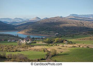 landscape of lake in Palencia, Castilla y Len, Spain.