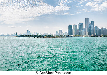 Landscape of lake Michigan and Chicago downtown