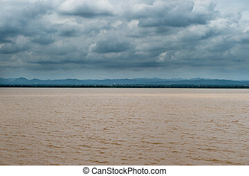 Landscape of lake with clouds sky