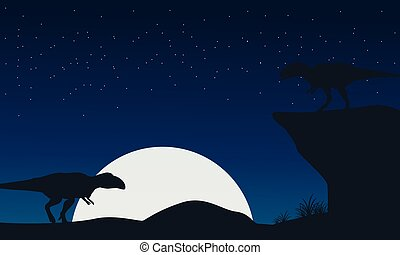 Landscape of mapusaurus dinosaur silhouettes
