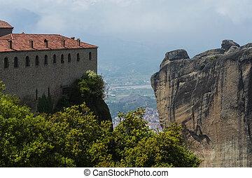Landscape of Meteora monastery on peak of mountains.