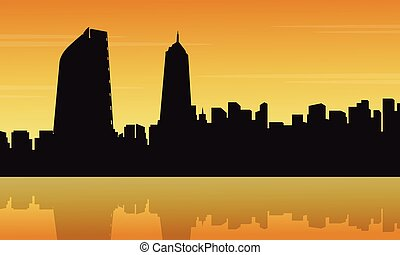 Landscape of Mexico city with reflection silhouettes