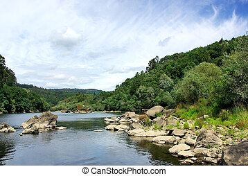 Landscape of Minho river, north of Portugal.