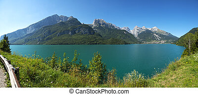 Molveno lake and Dolomiti di Brenta group