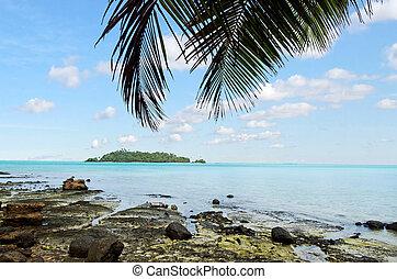 Landscape of Moturakau Island in Aitutaki Lagoon Cook Islands