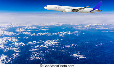Landscape of Mountain. Airplane in the sky