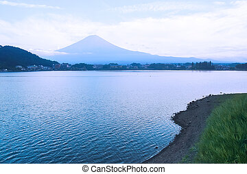 landscape of Mountain Fuji and a lake on the foot of it