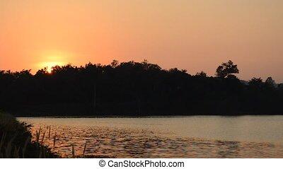 landscape of mountain on sunset in Wang Bon reservoir...