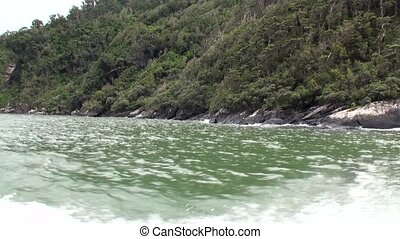 Landscape of mountain panorama view from boat in New Zealand.