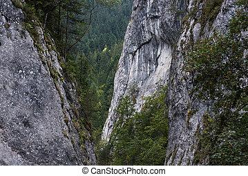Landscape of mountain peak in Bicaz Canyon, Romania