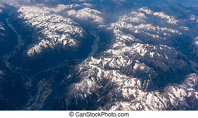 Landscape of Mountain. view from the airplane window