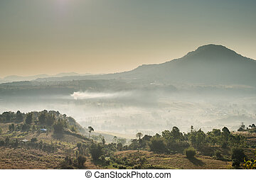 Landscape of mountain with fog