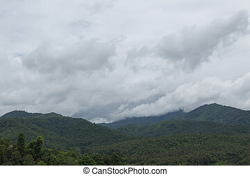 landscape of mountain with misty rain cloud sky