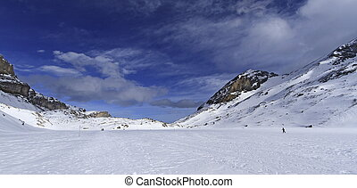 Landscape of mountain with some snow