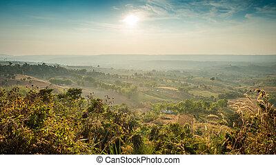 Landscape of mountain with sun sky
