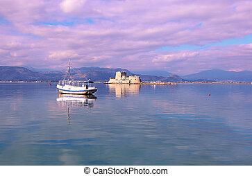 landscape of Nafplio harbor Argolis Greece