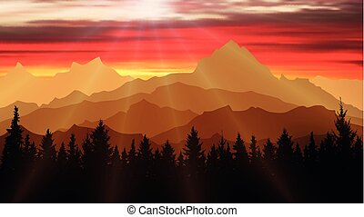 Landscape of nature, mountains and forest at sunset. Travel background, illustration