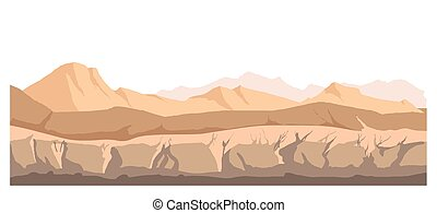 Landscape of nature with dry climate, empty wasteland