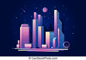 Landscape of night city with skyscrapers buildings