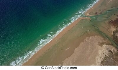 Landscape of ocean and beach - Aerial panoramic view of...