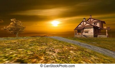 landscape of old house on top mountain with golden sunset