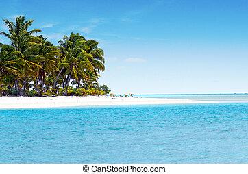 Landscape of One foot Island in Aitutaki Lagoon Cook Islands...