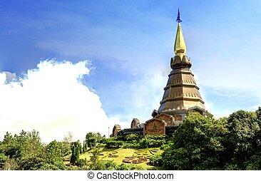 Landscape of pagoda at Doi Inthanon, chiangmai - Thailand