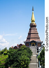 Landscape of Pagoda on the top of mountain Inthanon, Chiang Mai,