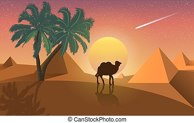 Landscape of palm and camel on a background of desert pyramids.