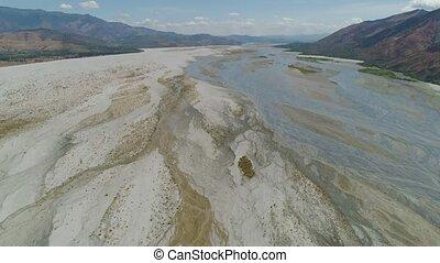 Landscape of parched river Philippines,Luzon. - Parched...