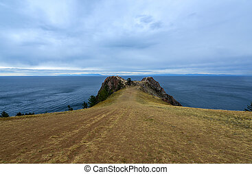 Landscape of path in Cape Khoboy, Olkhon Island, Baikal, Siberia, Russia on a cloudy, stormy, day.