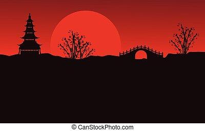 Landscape of pavilion and bridge silhouettes