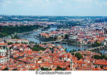 Landscape of Prague, aerial view