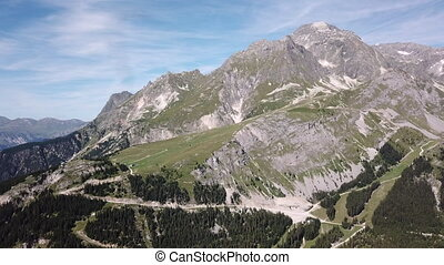 A snow-covered mountain covered with tall trees of a dense forest that grows on high heels under a clear sky. A natural beauty of the mountain