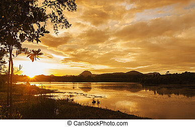 Landscape of river with beautiful of the sunset on colorful of sky