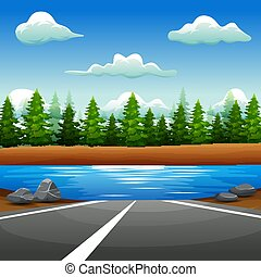 Landscape of road to the river