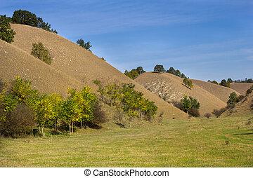 Landscape of sandy hills in fall