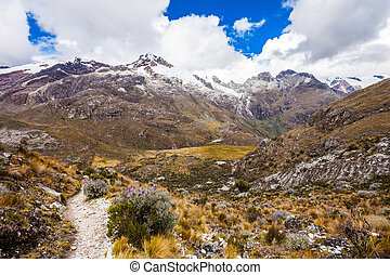 Landscape of Santa Cruz Trek, Huascaran National Park in the Andes of Peru