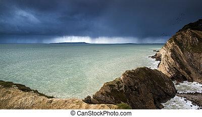 Landscape of sea storm approaching land