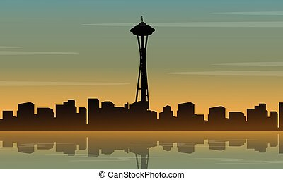 Landscape of seattle space needle tower silhouette vector...
